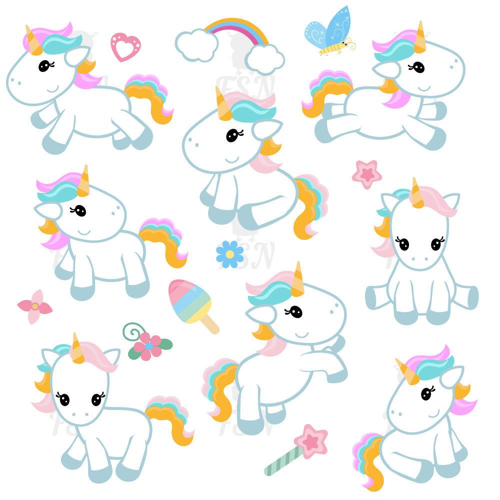 Cute clip art digital. Unicorn clipart