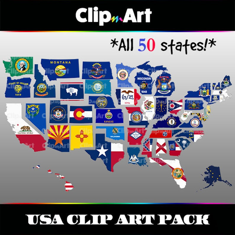 Usa map clip art. United states clipart 50 state