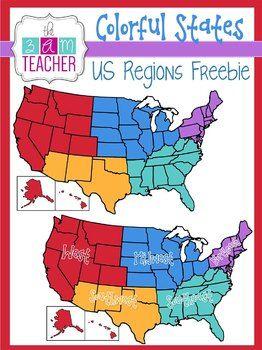 United states clipart region us. Colorful regions freebie clip