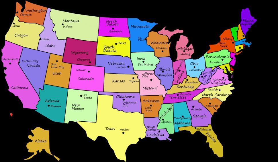 Usa clipart name capital. Us map united states