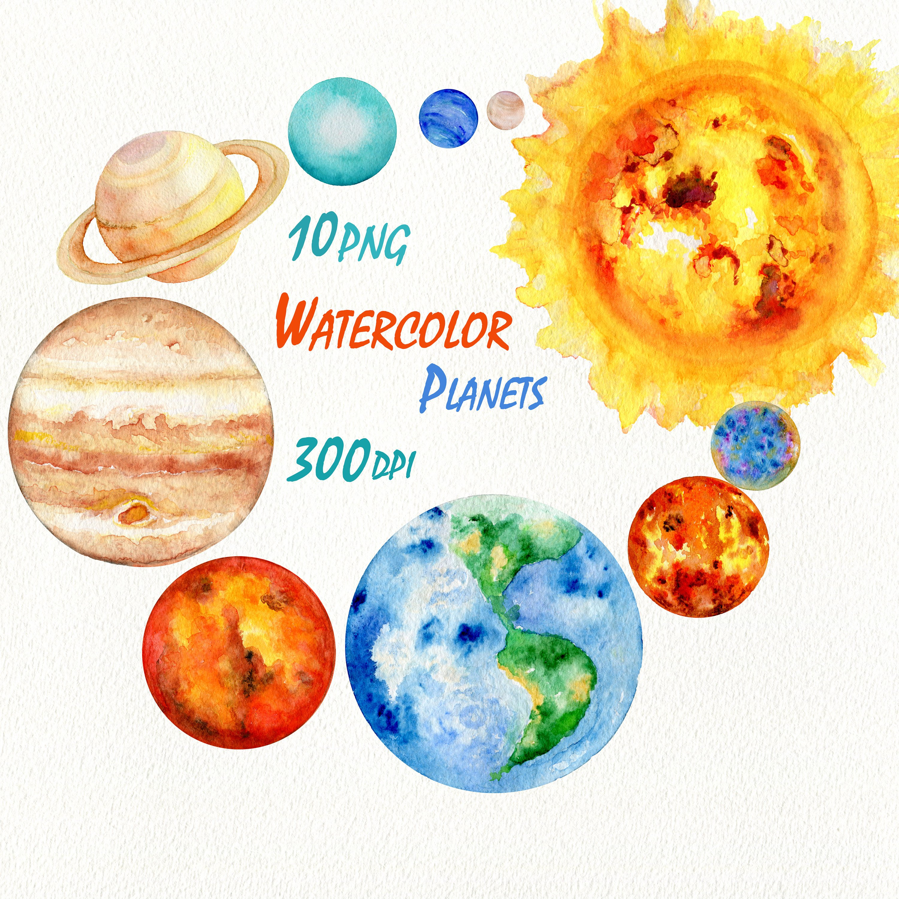 Planets solar system watercolor. Universe clipart