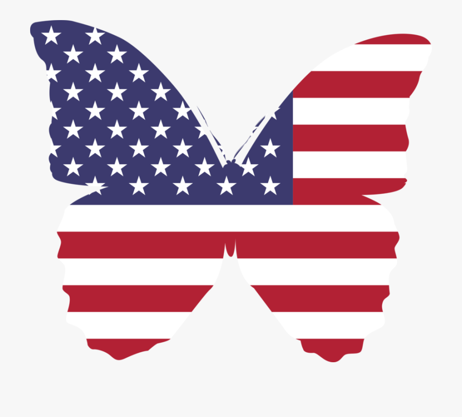 Usa clipart clip art. Flag america butterfly