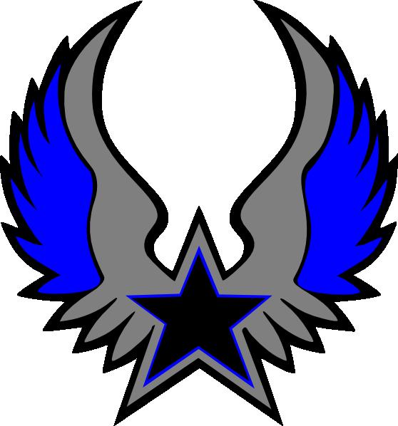 Usa clipart grey. Blue star emblem clip