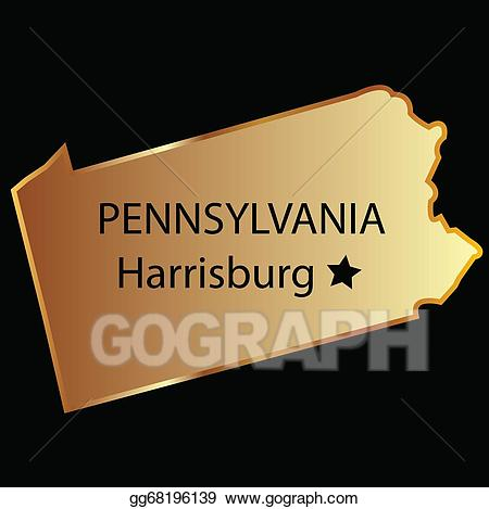 Vector illustration pennsylvania state. Usa clipart name capital