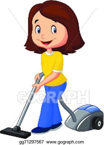 Vector stock mom cartoon. Vacuuming clipart