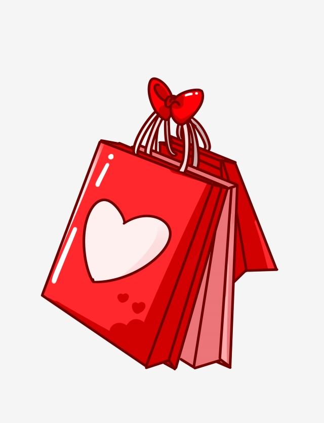 Red gift pink cartoon. Valentine clipart bag
