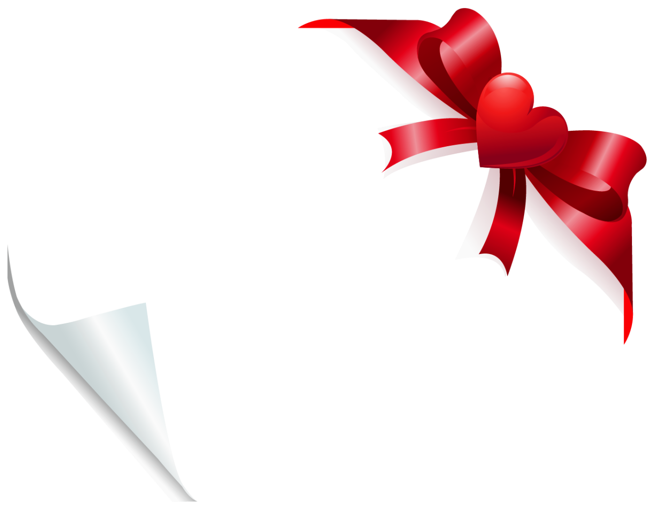 Clipart bow heart. Valentine decoration for cards