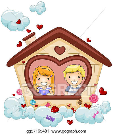 Stock illustration drawing . Valentine clipart house
