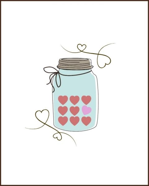 Candy heart printable day. Valentine clipart mason jar