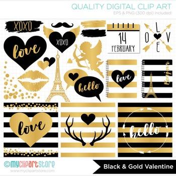 Black gold foil hipster. Valentine clipart modern