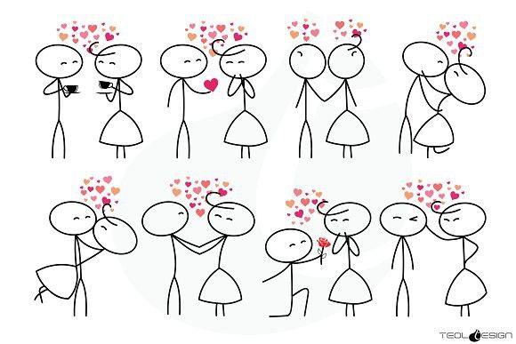 Valentine clipart person. Stick figure love people
