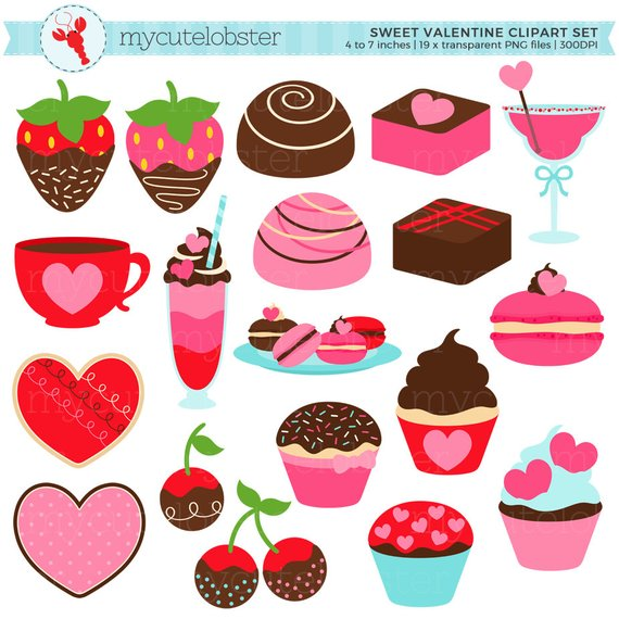 Set cookies strawberries . Valentine clipart sweet