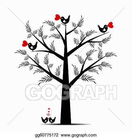 Eps illustration vector gg. Valentine clipart tree