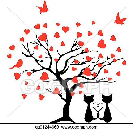 Valentine clipart tree. Vector illustration eps gg