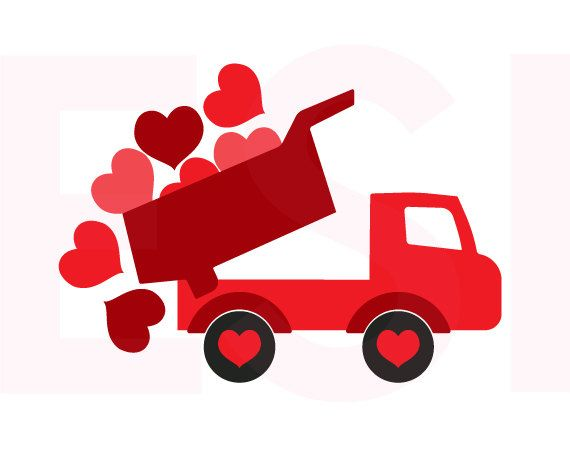 Valentine clipart truck. Svg with falling hearts
