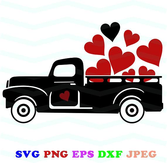 Black svg red clip. Valentine clipart truck
