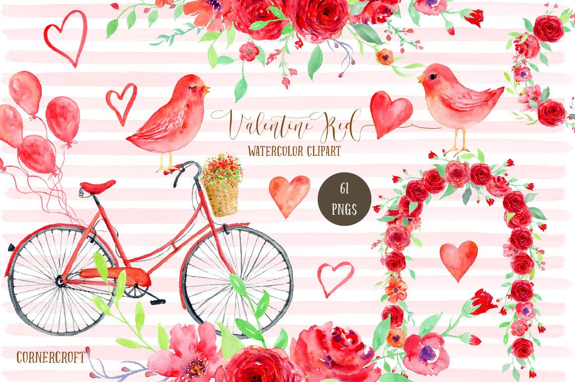 Red roses bicycle . Valentine clipart watercolor