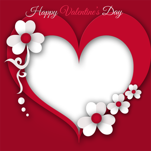 Beautiful heart photo with. Valentines day frame png