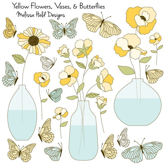 Vase clipart animal flower. Yellow flowers vases butterflies