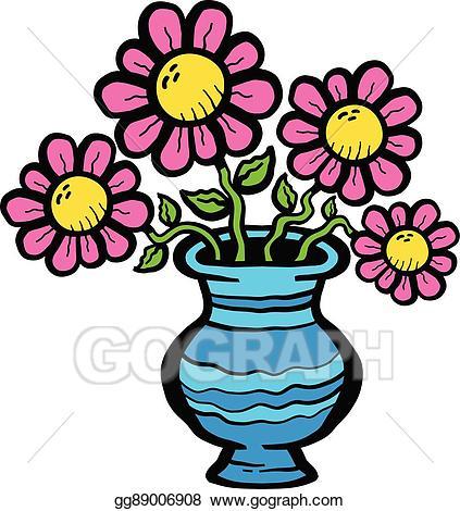 Vase clipart cartoon. Vector stock flowers in