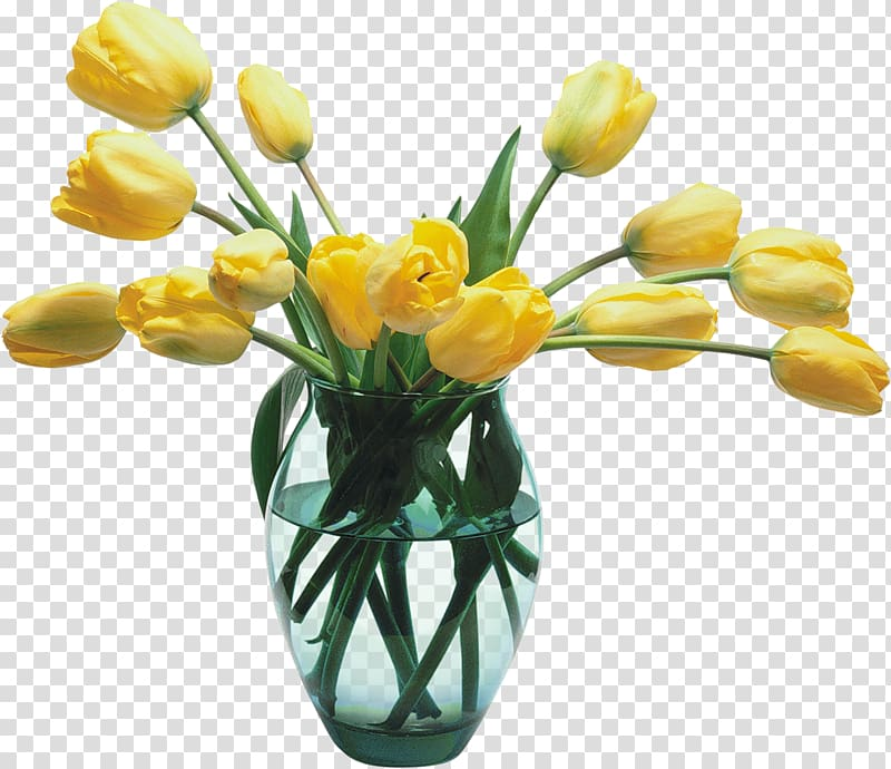 Yellow flowers in flower. Vase clipart tulip png
