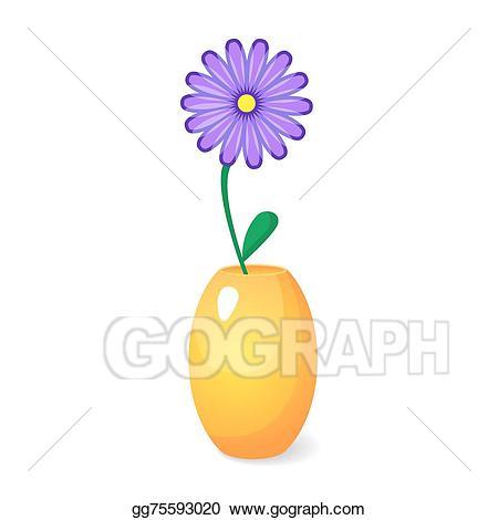 Vector illustration single flower. Vase clipart violet