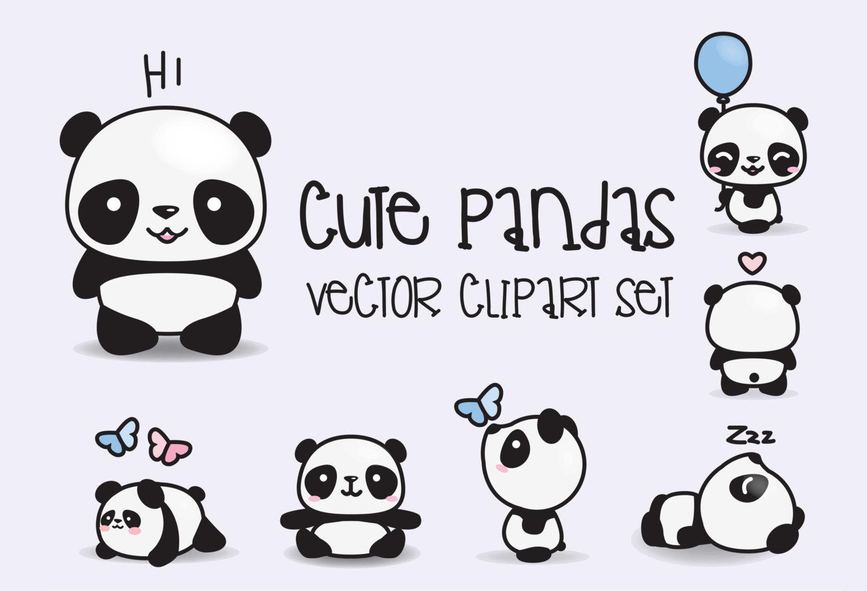 Premium kawaii pandas cute. Vector clipart