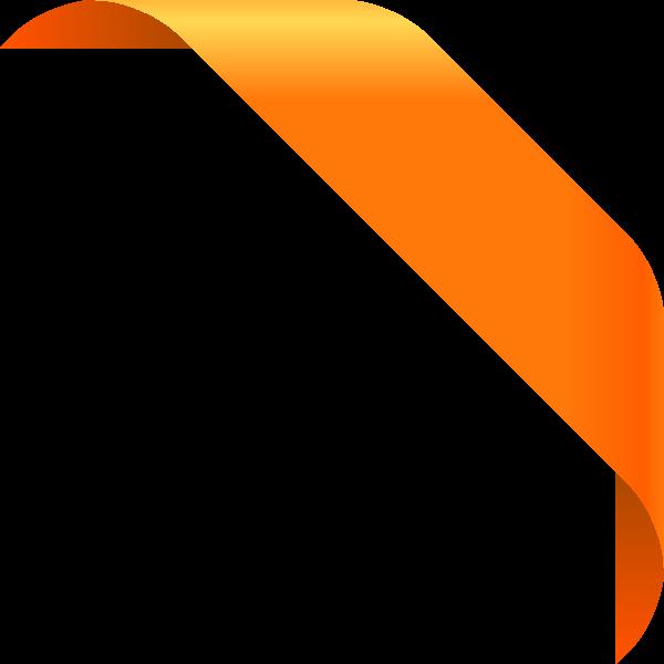 Corner ribbon light orange. Vector design png