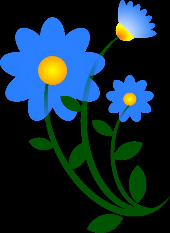 Vector flowers png. Clipart blue flower motif