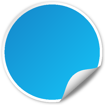 Circle seal light blue. Vector png