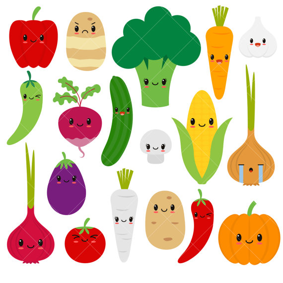 Kawaii cute vegetable happy. Vegetables clipart