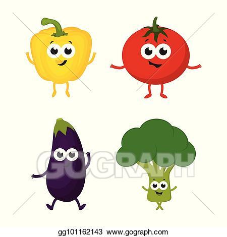 Vegetables clipart cartoon. Vector art set with