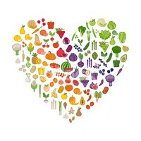 And fruits in a. Vegetables clipart heart