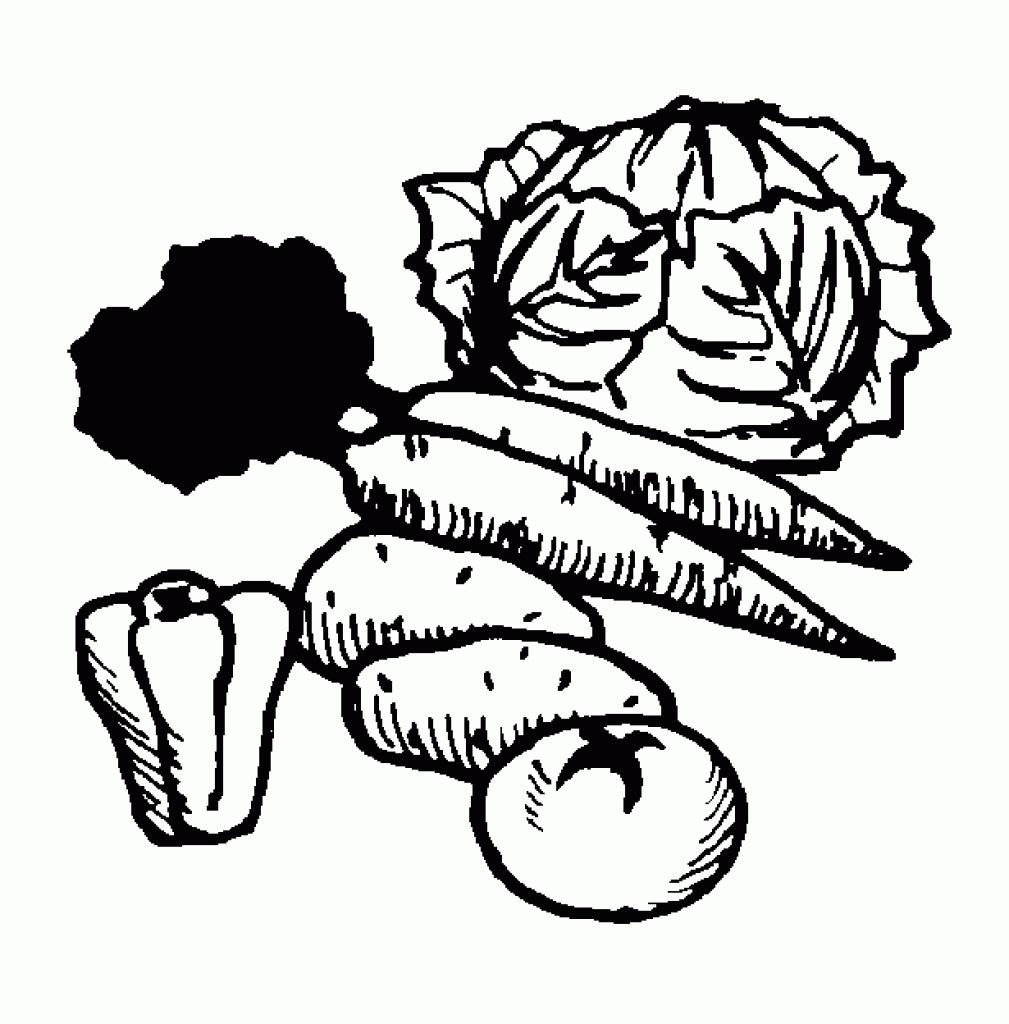 Vegetables clipart outline. Black and white