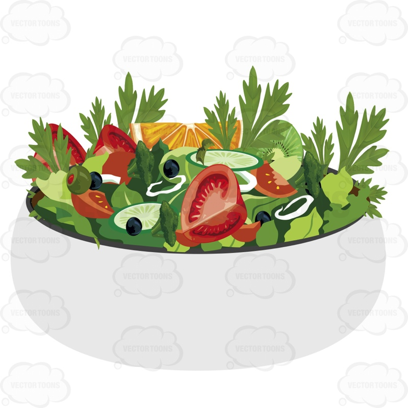 Download cartoon bowl with. Vegetables clipart salad vegetable