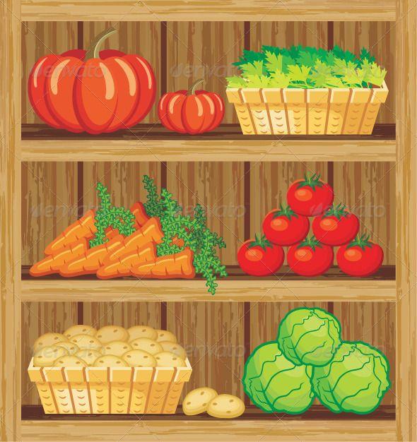 Vegetables clipart shelf. Supermarket shelfs and food