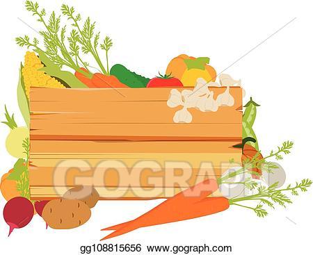 Vegetables clipart sign. Vector stock wooden illustration