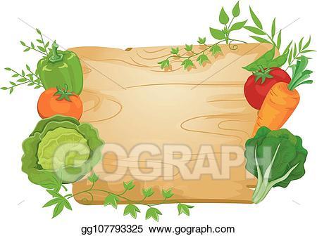 Vegetables clipart sign. Vector stock vegetable board