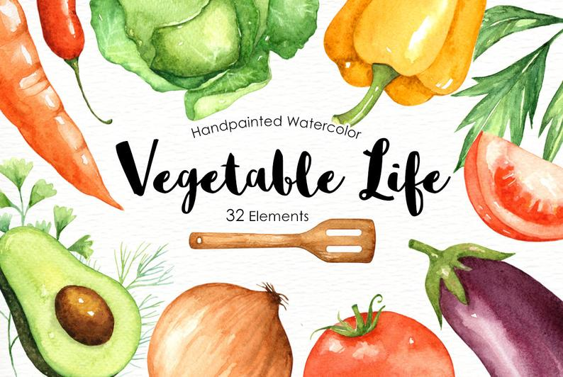 Life cliparts veggies vegetable. Vegetables clipart watercolor
