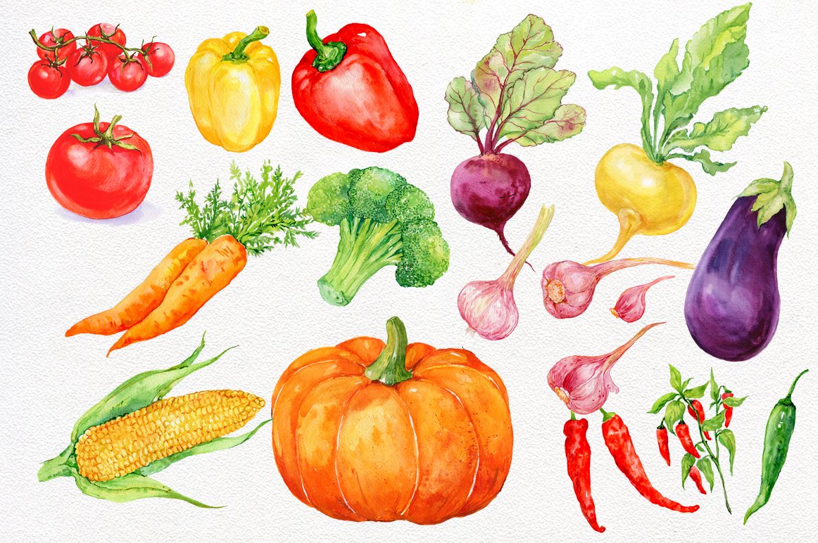 . Vegetables clipart watercolor