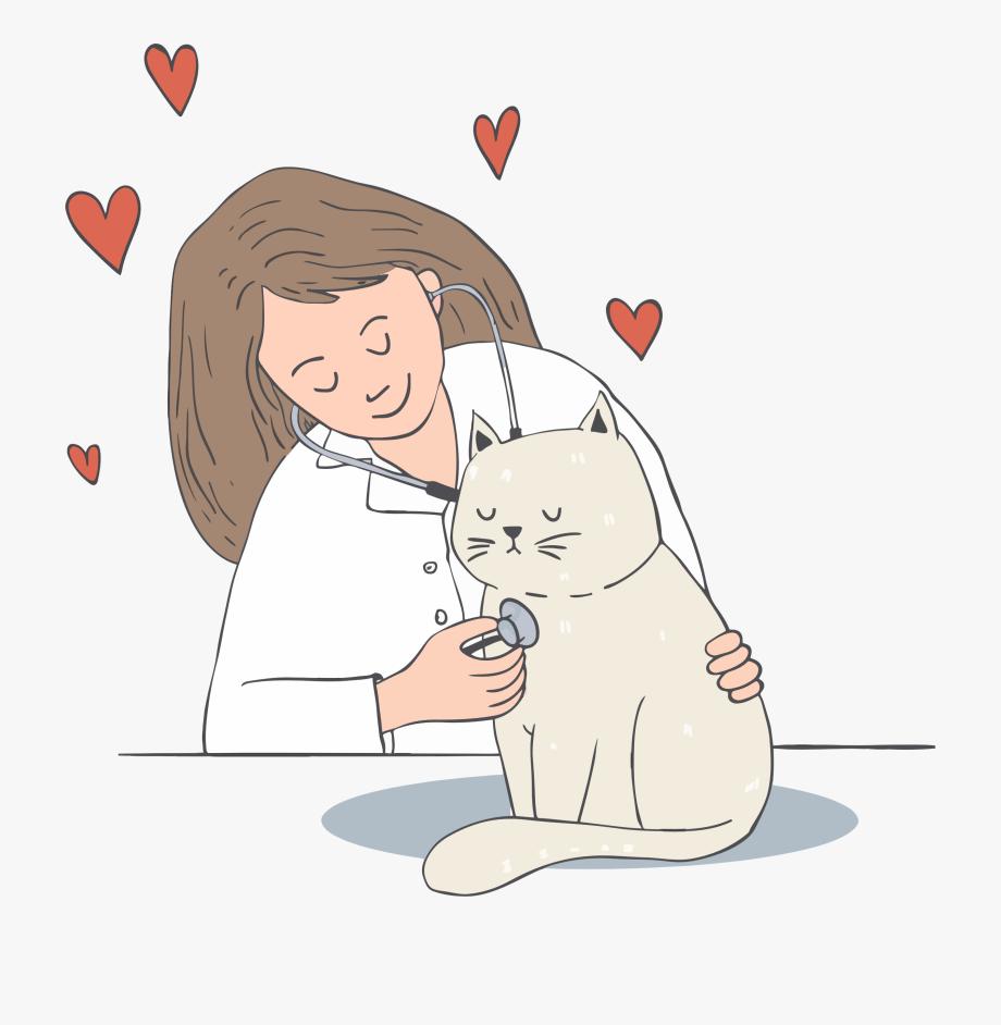 Veterinarian clipart clip art. Love and cat