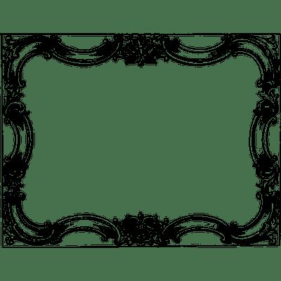 Black transparent stickpng vintage. Victorian border frame png