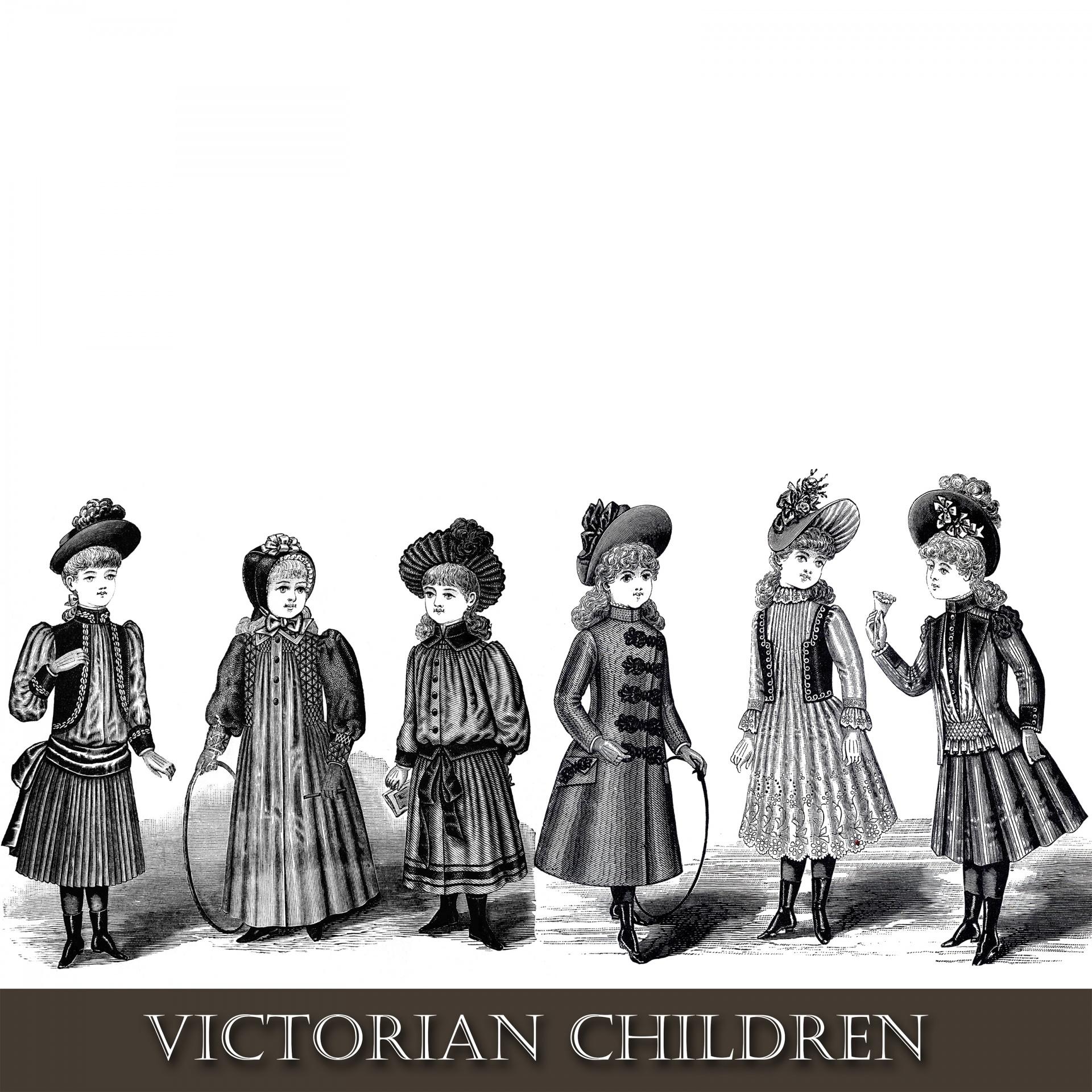 Victorian clipart. Children free stock photo