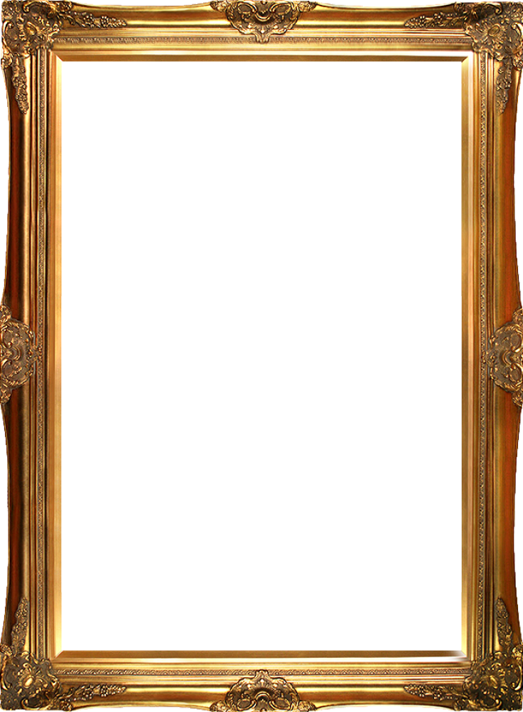 Gold canvas art reproduction. Victorian frame png