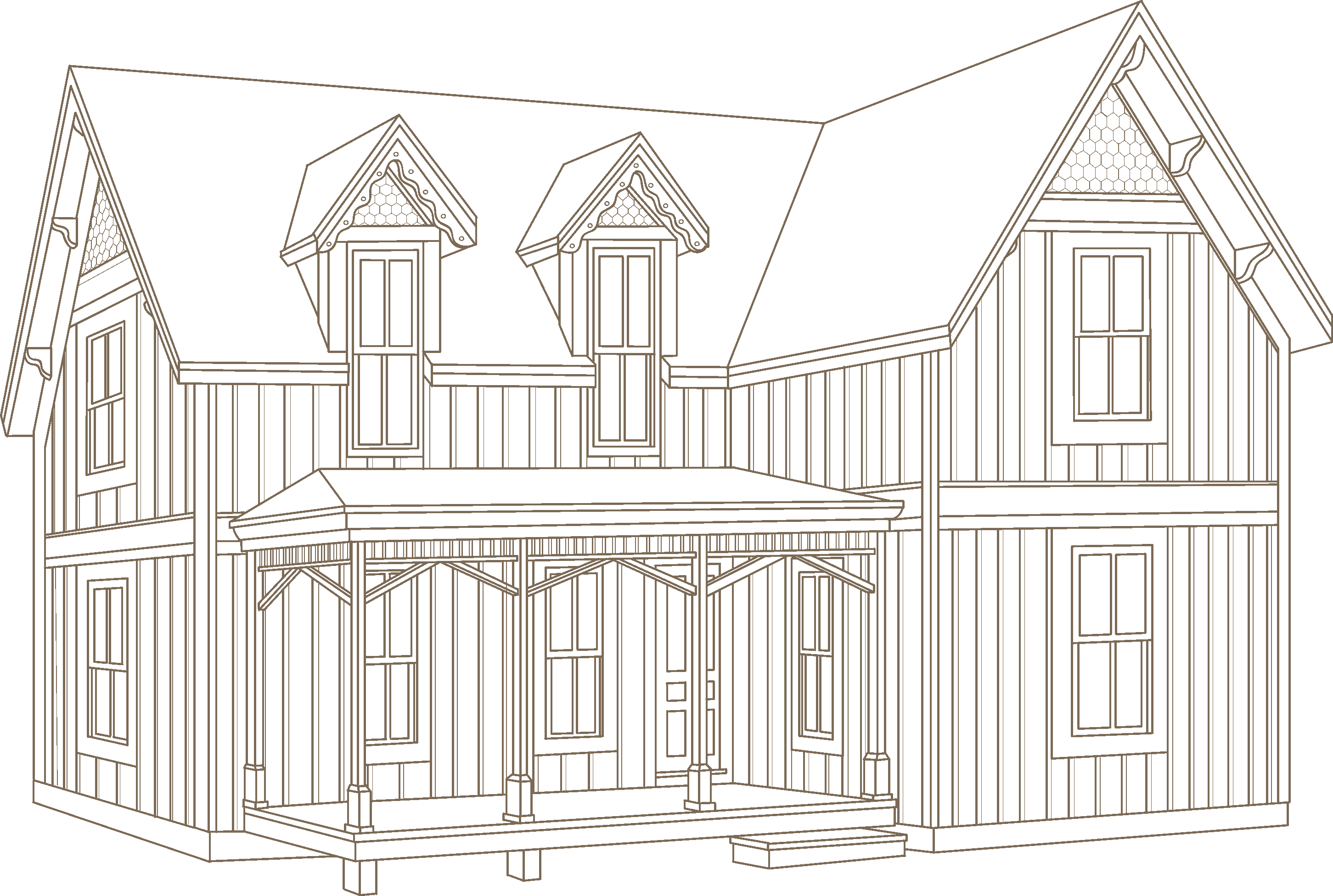 Victorian house png. Folk architectural styles vinyl