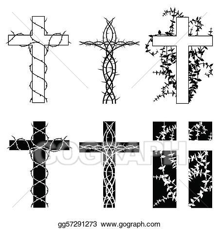 Vines clipart cross. Vector thorn crosses illustration
