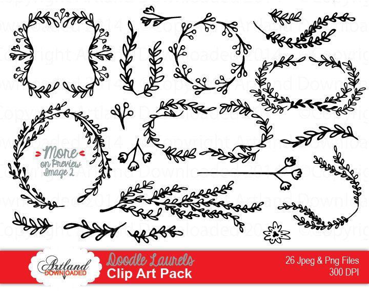 Hand drawn laurels vine. Vines clipart doodle