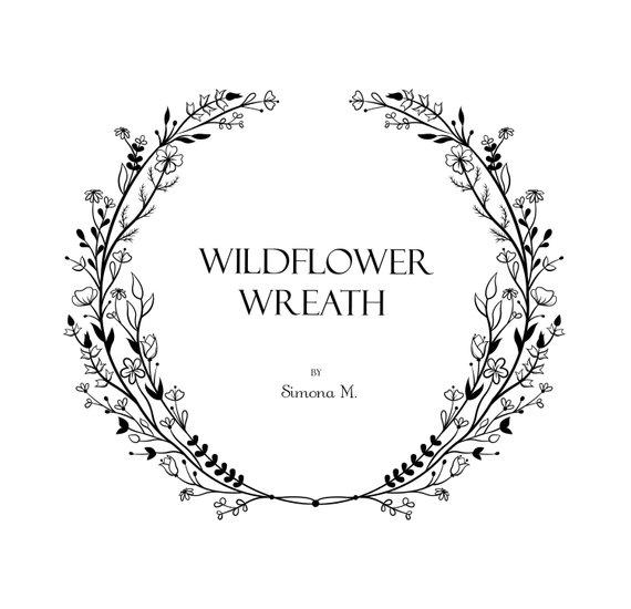 Wildflower wreath vine logo. Vines clipart hand drawn