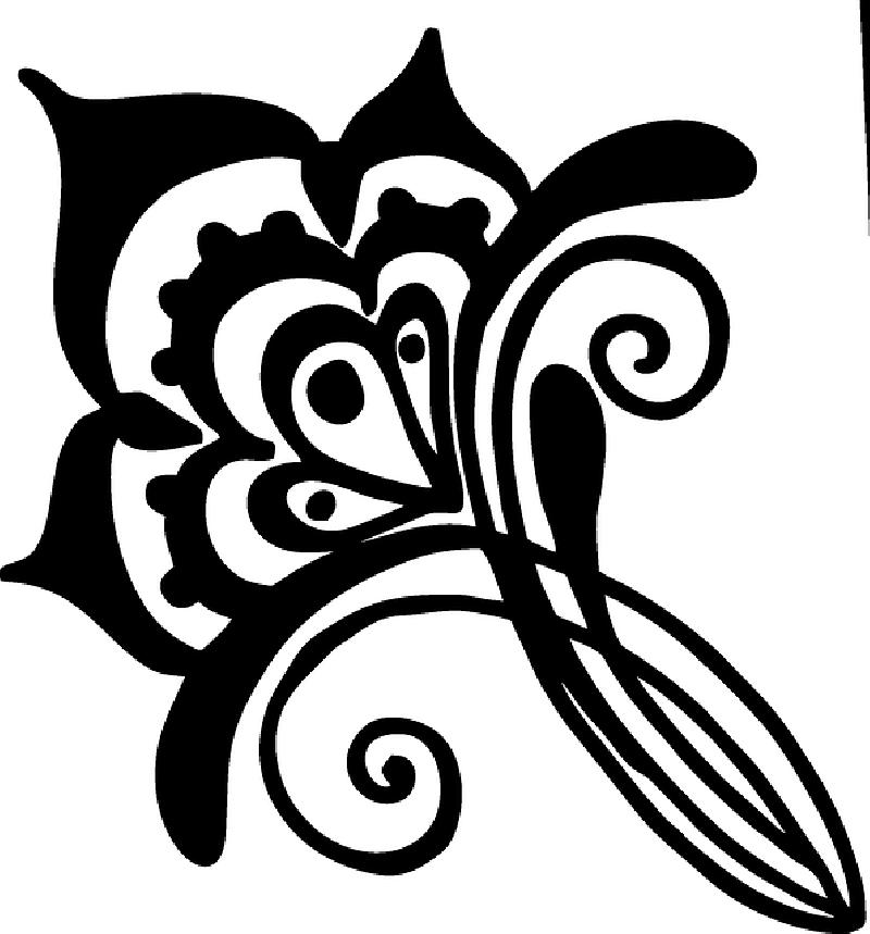 Vines clipart swirl. Flower henna artwork silhouette