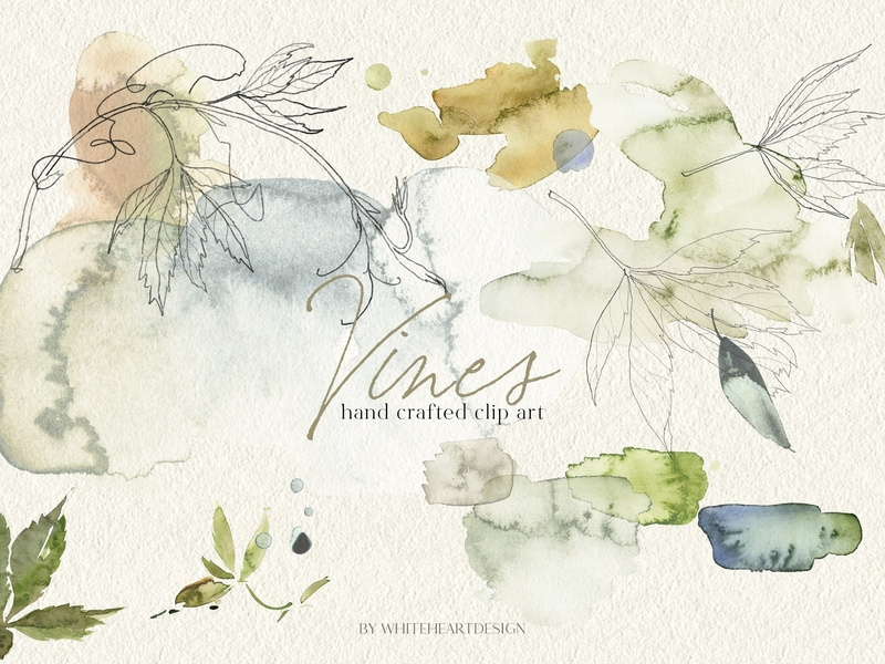 Vines clipart watercolor. Abstract by graphics collection